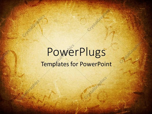 powerpoint template: texture of old paper with zodiac signs, Modern powerpoint