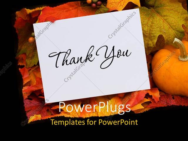 powerpoint template: thank you card with a gourd sitting on a fall, Modern powerpoint