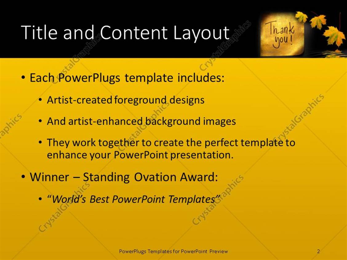 powerpoint template: thank you message handwritten on gold sticker, Presentation templates