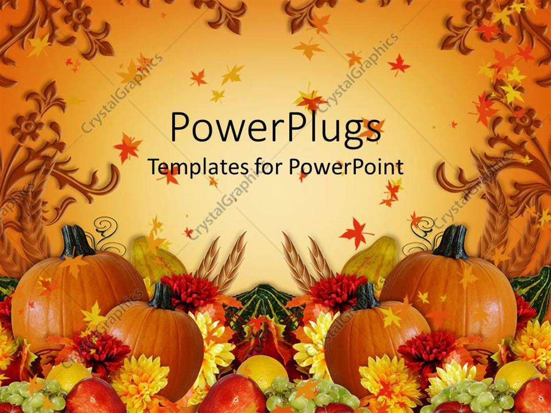 powerpoint template thanksgiving harvest orange