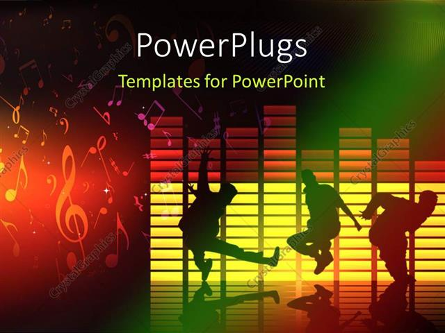 powerpoint template: thee people dancing and jumping on a music, Modern powerpoint