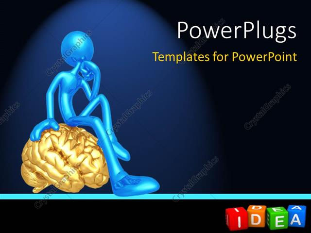 Powerpoint Template Thoughtful Blue Figure Sitting On Gold Brain