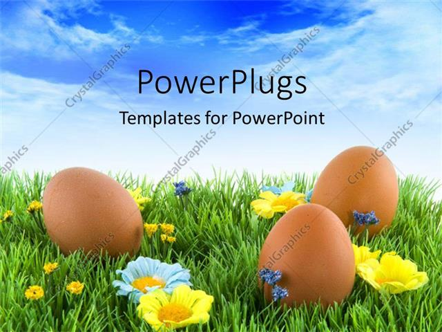 Powerpoint Template: Three Brown Colored Easter Eggs On An Open