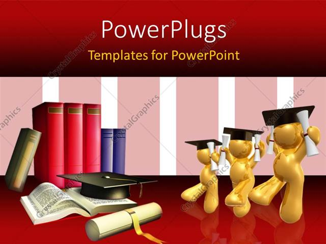 powerpoint template: three gold plated 3d graduates with book pile, Powerpoint templates