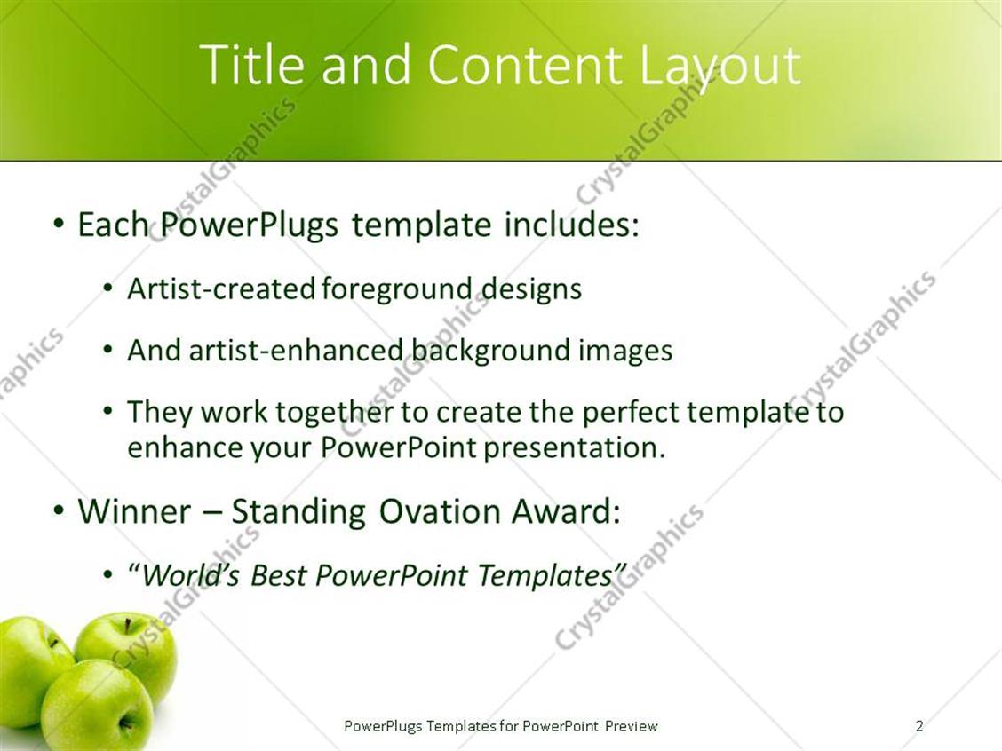 powerpoint template: three green apples fruits from tree nature on, Presentation templates
