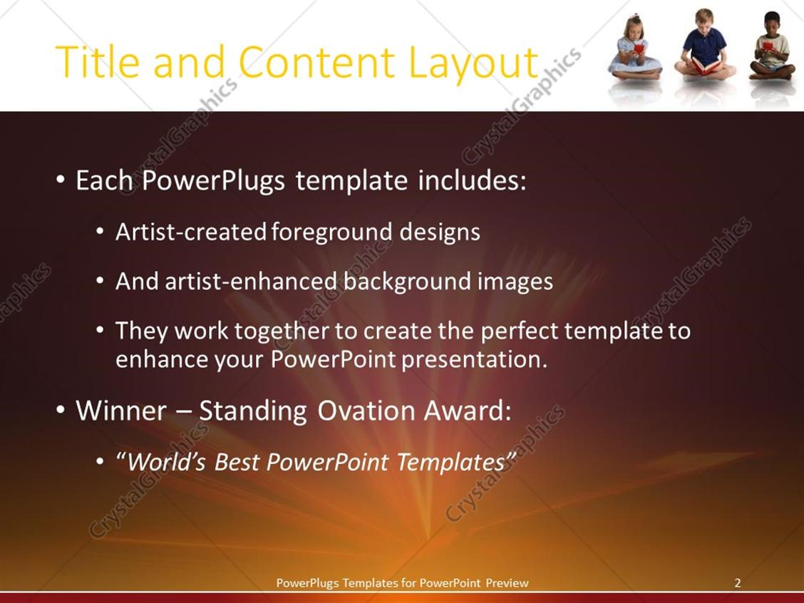 powerpoint template: three kids sitting cross legged reading and, Modern powerpoint