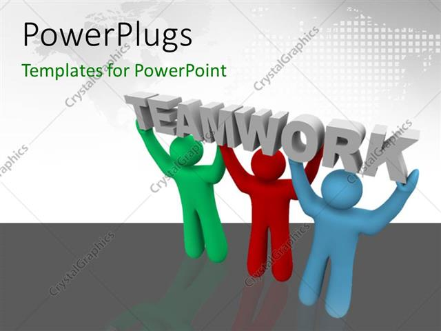 Powerpoint template three people carrying the word teamwork with powerpoint template displaying three people carrying the word teamwork with map in the background toneelgroepblik Choice Image
