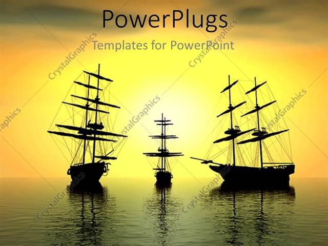 pirate ship sails template - powerpoint template three ships with high sails and