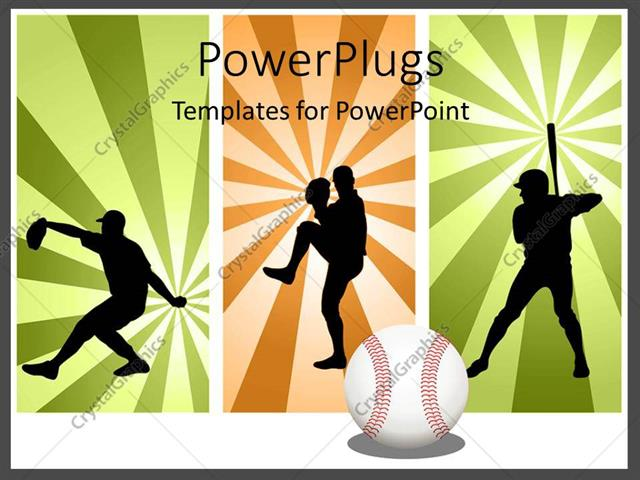 Powerpoint Template Three Tiles With Men Playing Baseball In