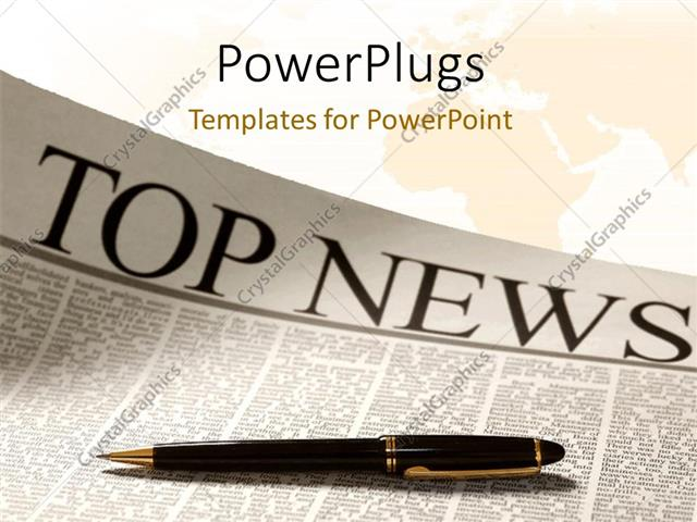 powerpoint template: top news headline on a newspaper page with, Modern powerpoint