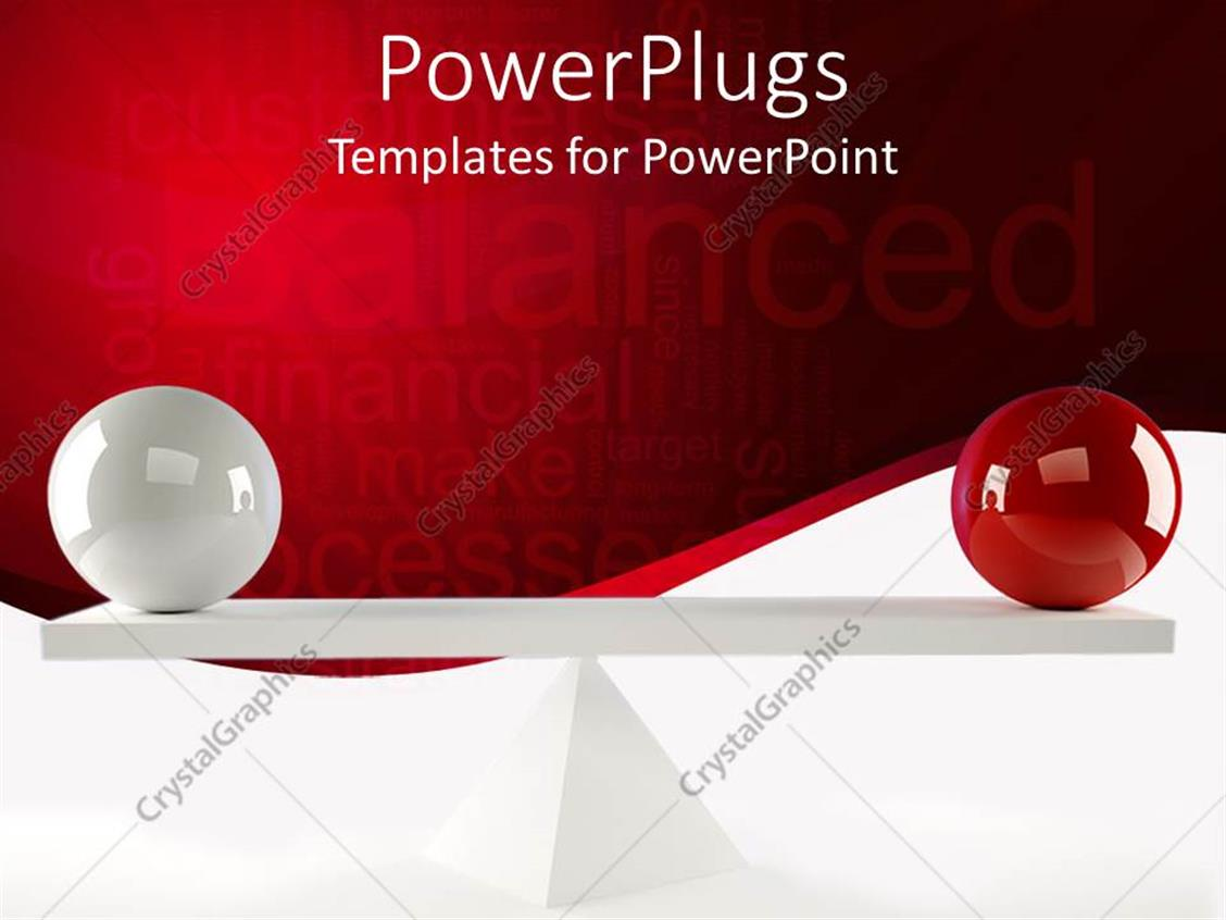 Powerpoint template tow balls of different colors balanced on a wooden piece 2768 - Matching wood pieces of different colors ...