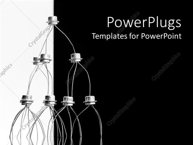 PowerPoint Template: Transistors stacked in pyramid shape, black ...