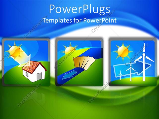 powerpoint template: tree tiles showing the flow of renewable, Powerpoint templates
