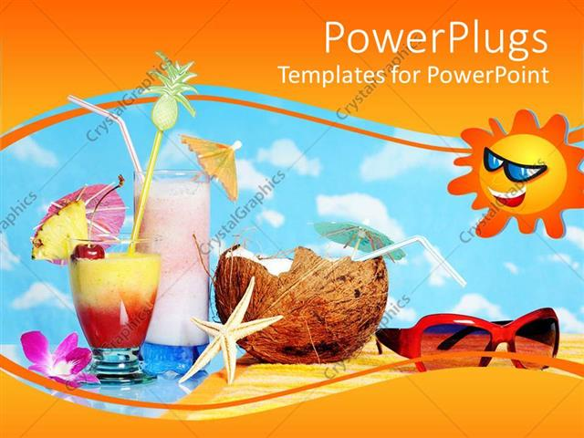 Powerpoint Template Tropical Drinks Starfish Coconut