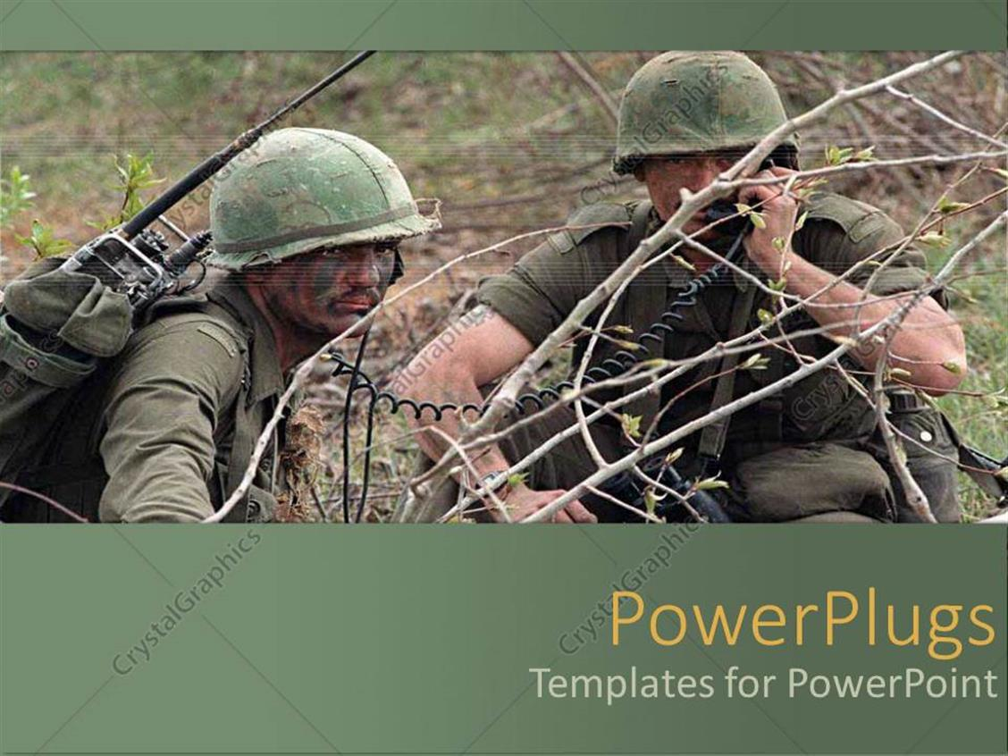 powerpoint template two army men during the war 9187. Black Bedroom Furniture Sets. Home Design Ideas