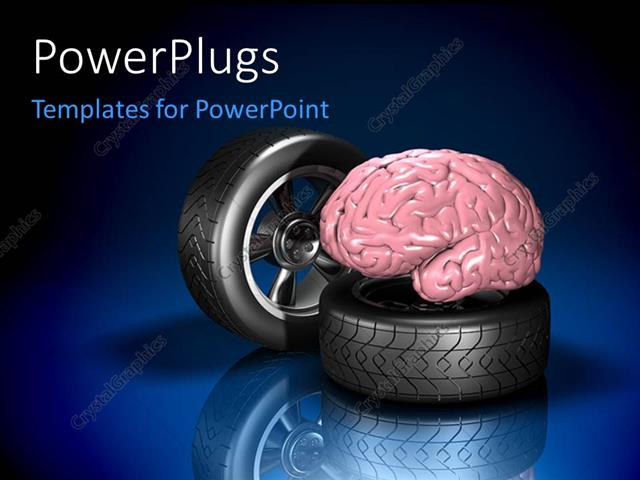 Powerpoint Template: Two Automotive Wheel With Human Brain On Blue