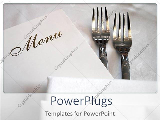 powerpoint template two forks and the menu card with white, Powerpoint