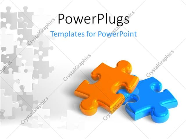 Powerpoint Template: Two Glossy Puzzle Pieces Depicting Business