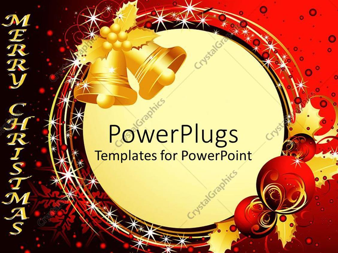 powerpoint template two gold christmas bells with balloons and