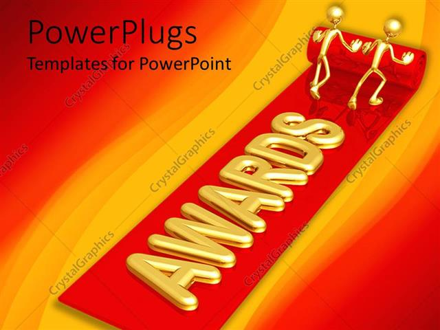 powerpoint template: two golden figures unrolling red carpet, Modern powerpoint