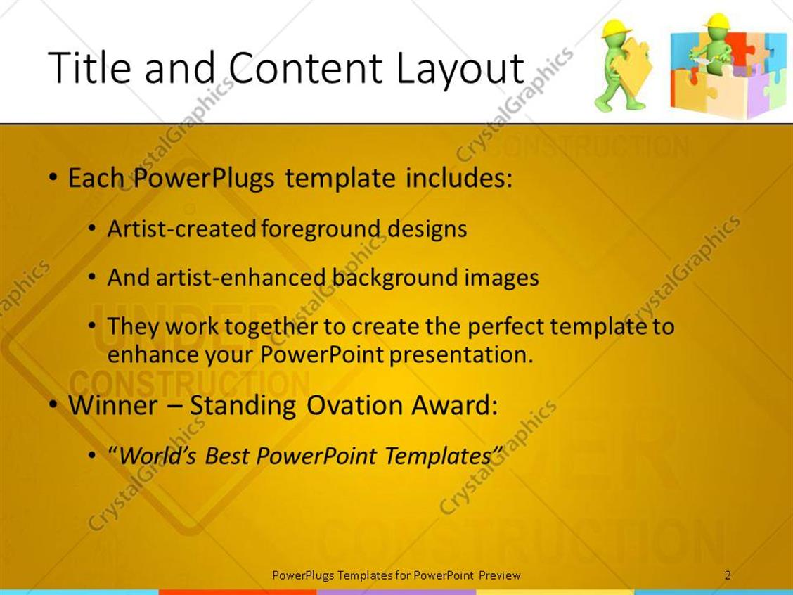 PowerPoint Template: Two green animated human characters building ...