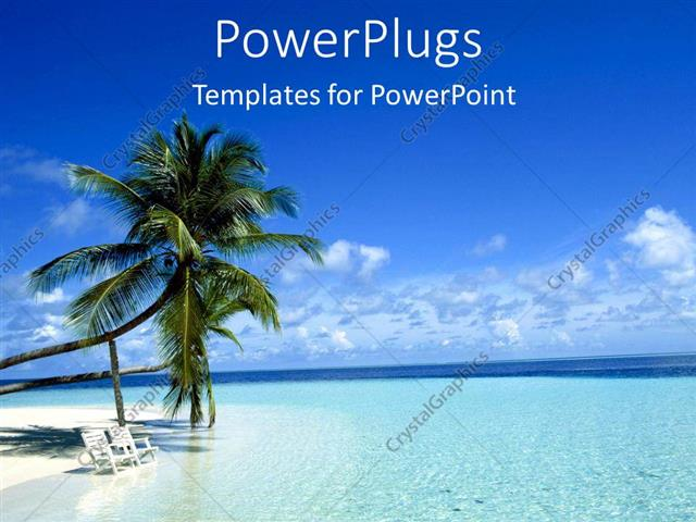 powerpoint template: two palm trees on a white beach with chairs, Modern powerpoint