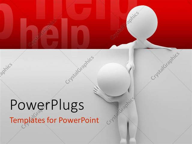 PowerPoint Template Displaying Two People Helping Out Each other