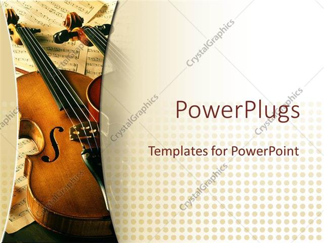 PowerPoint Template: two violins on multiple music sheets in the ...