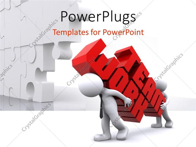 team words powerpoint template two white figures carrying words team work in