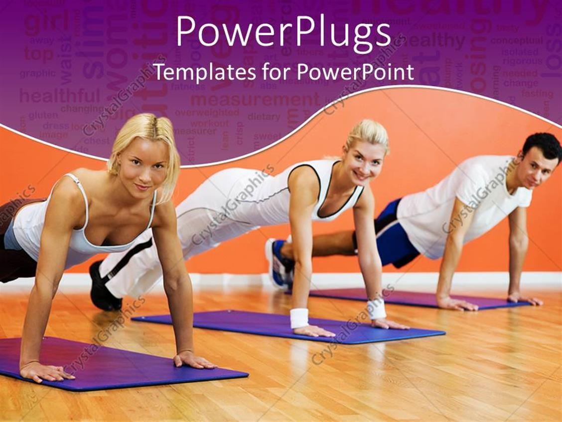 PowerPoint Template Displaying Two Women One Man Performing Plank Pose on Purple Yoga Mats with Orange Background