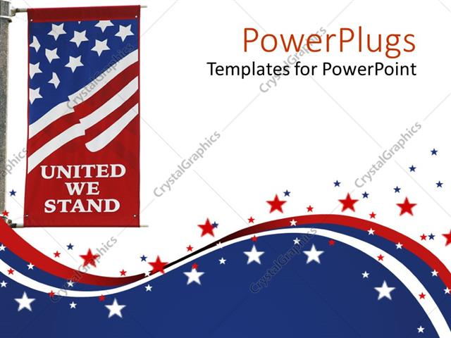 Powerpoint template united states of america flag on pole with powerpoint template displaying united states of america flag on pole with united we stand motto printed on toneelgroepblik Choice Image