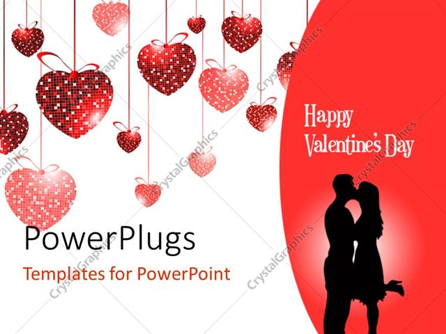 powerpoint template: valentine depiction with love shaped, Powerpoint templates