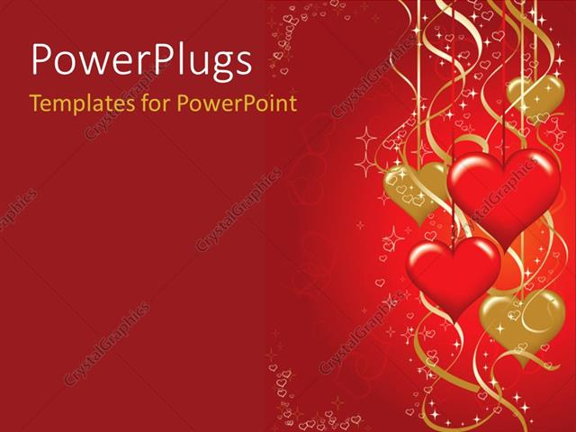 Powerpoint template valentines background with hearts shapes powerpoint template displaying valentines background with hearts shapes hanging in red and golden toneelgroepblik Images