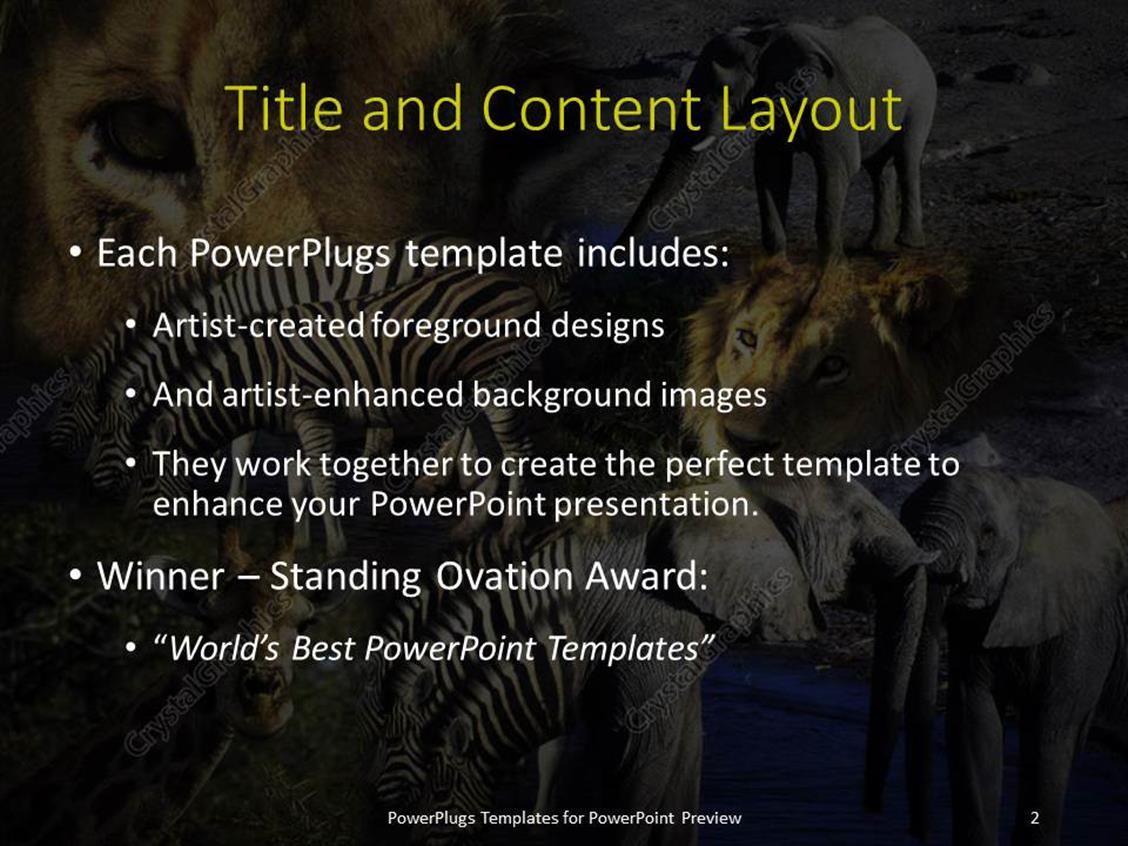 powerpoint template various animals in a jungle with grayish