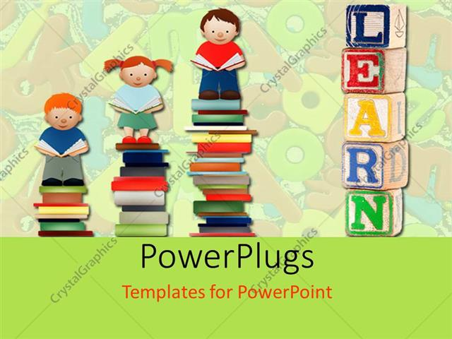 PowerPoint Template Displaying Various Children Standing on Books with Alphabets in the Background