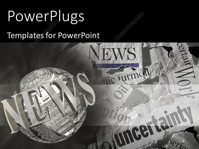 Powerpoint Template: Various Torn Newspaper Headlines Showing