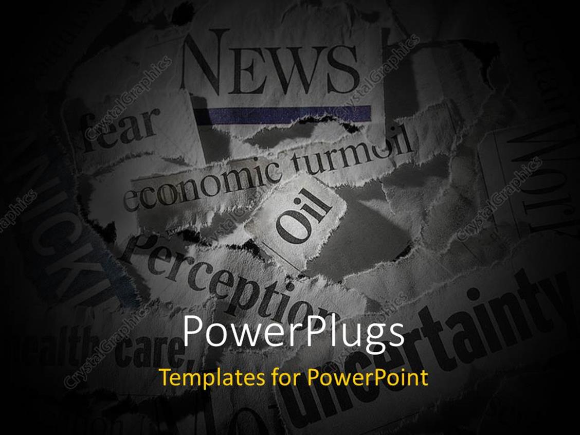 PowerPoint Template Displaying Various Torn Newspaper Headlines Showing Economic Concepts
