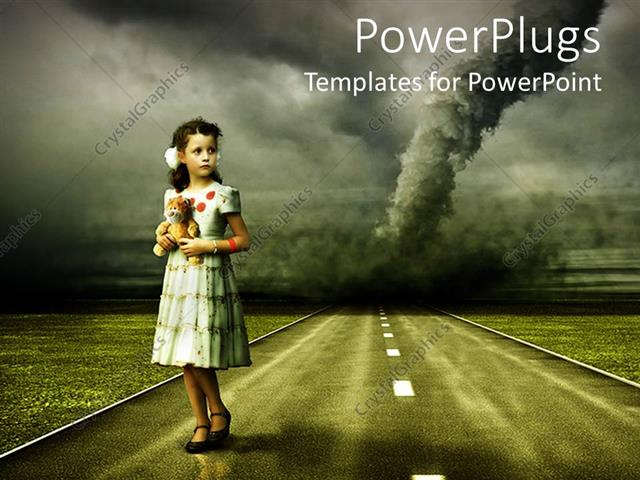 powerpoint template: vintage depiction of a young girl in dress, Modern powerpoint