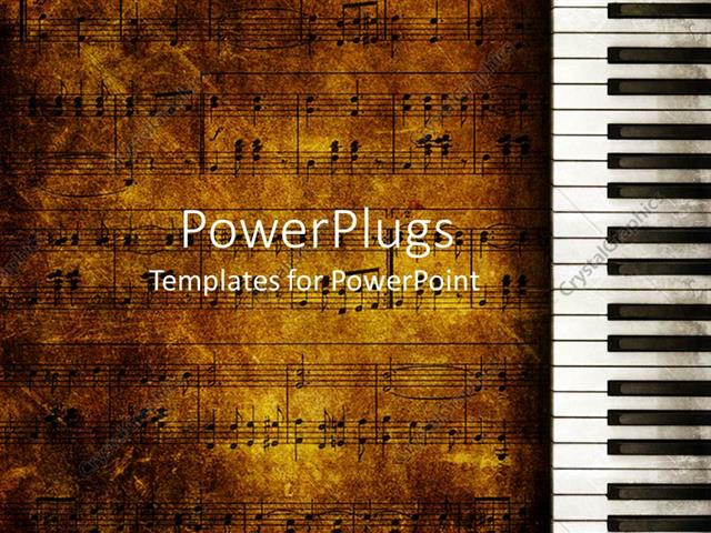 music themed powerpoint templates - powerpoint template vintage looking music themed