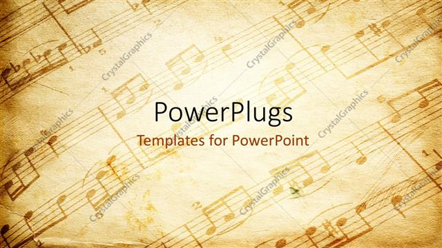 powerpoint template vintage paper background depicting music, Powerpoint