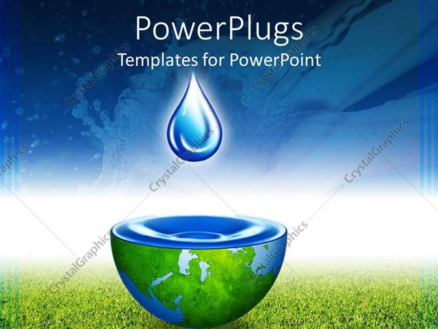 Powerpoint Template: Water Drop Above Half Globe Holding Water
