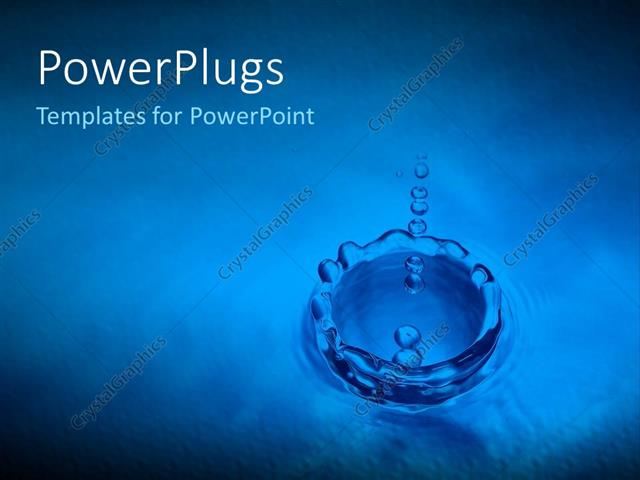 Powerpoint Template: Water Drops Into Puddle Ripple Effect Blue