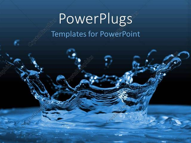 Powerpoint Template Water Ripples And Water Drops Splashing Blue