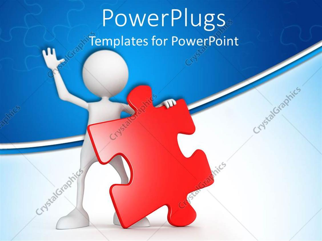 PowerPoint Template Waving white figure holding red jigsaw puzzle – Puzzle Powerpoint Template