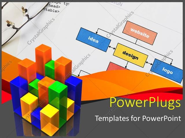 Powerpoint Template Web Design Project Planning With Diagram With Statistics In Foreground And