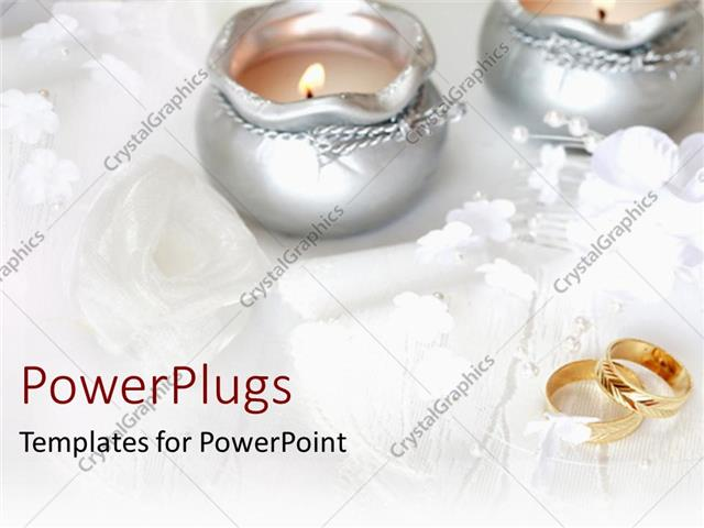 Powerpoint Template Wedding Theme With Two Golden Wedding Rings