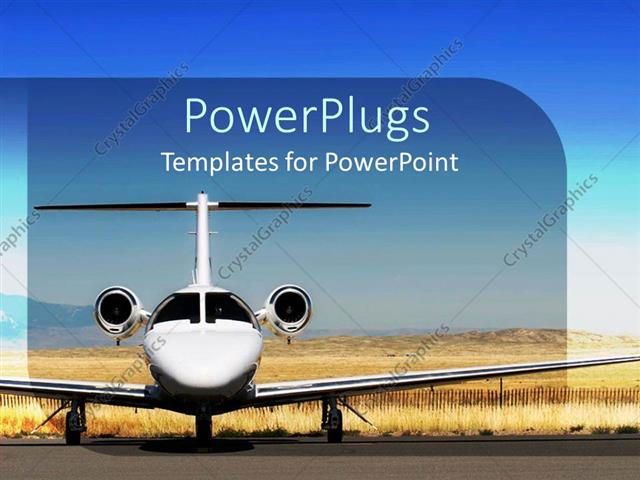 powerpoint template: white airplane parked at airport, blue sky (1461), Modern powerpoint