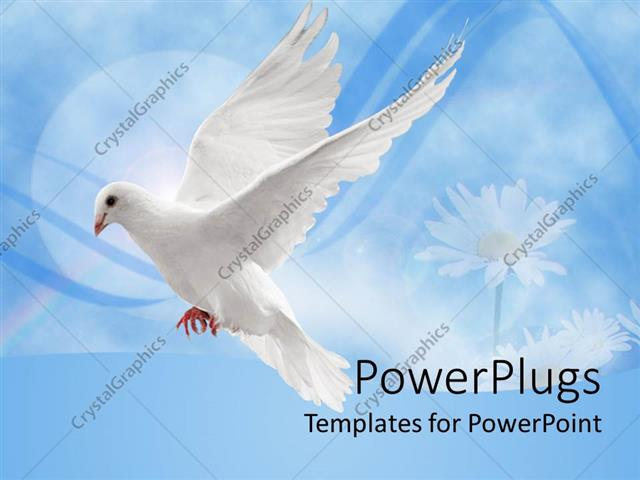 PowerPoint Template Displaying White Dove in Flight Against a Blue Background with Daisies
