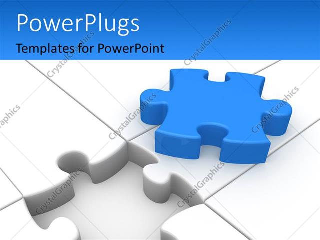 Powerpoint Template White Jigsaw Puzzle With Blue Colored Missing