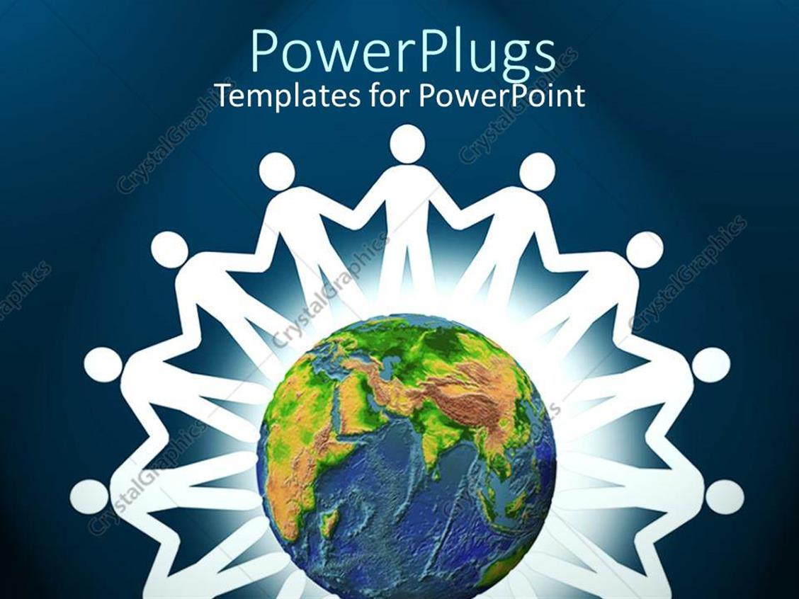 powerpoint template white paper doll cutouts around a